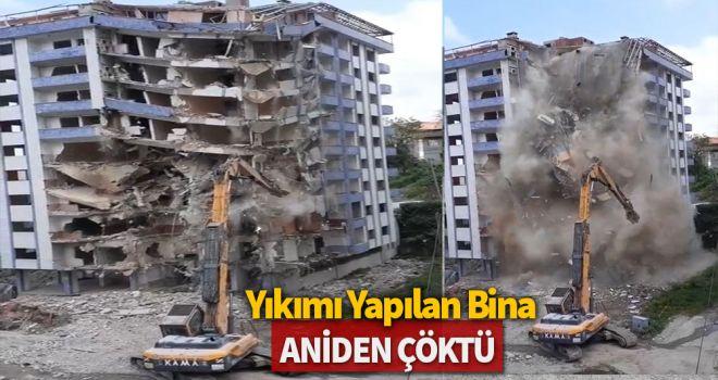 Yıkımı yapılan bina aniden çöktü
