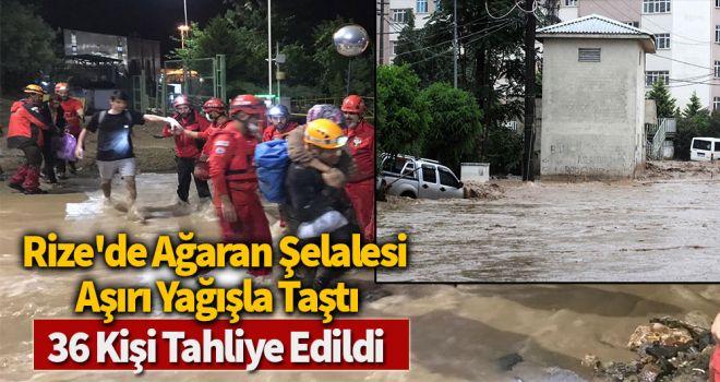 Rize'de Ağaran Şelalesi aşırı yağışla taştı, 36 kişi tahliye edild