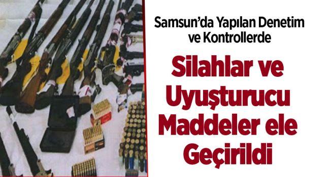 SAMSUN'DA YAPILAN KONTROLLERDE TABANCA VE UYUŞTURU ELE GEÇİRİLDİ