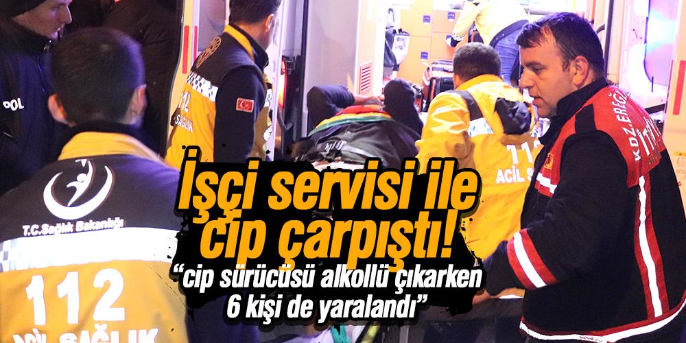 İşçi servisi ile cip çarpıştı 6 yaralı