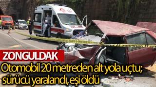 Otomobil 20 Metreden Alt Yola Uçtu; Sürücü Yaralandı, Eşi Öldü