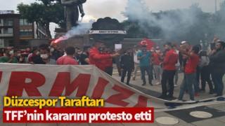 Düzcespor taraftarı, TFF'nin kararını protesto etti