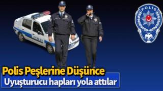 Polis peşlerine düşünce uyuşturucu hapları yola attılar