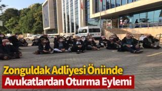 Zonguldak Adliyesi önünde avukatlardan oturma eylemi