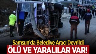 SAMSUN'DA İŞÇİ SERVİS ARACI DEVRİLDİ