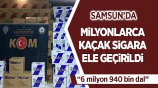 SAMSUN'DA MİLYONLARCA KAÇAK SİGARA ELE GEÇİRİLDİ