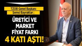 TZOB Genel Başkanı Şemsi Bayraktar; ÜRETİCİ VE MARKET FİYAT FARKI 4 KATI AŞTI!