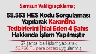 Samsun'da 55.553 HES Kodu Sorgulaması Yapılarak Karantina Tedbirlerini İhlal Eden 4 Şahıs Hakkında İşlem Yapılmıştır
