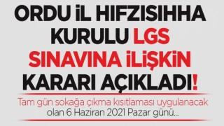 ORDU iL HIFZISIHHA KURULU LGS SINAVINA iLiŞKiN KARARI AÇIKLADI!