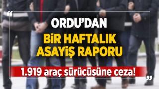 ORDU'DAN BİR HAFTALIK ASAYİŞ RAPORU
