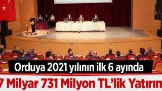 ORDUYA 2021 YILININ İLK 6 AYINDA 7 MİLYON TL'LİK YATIRIM