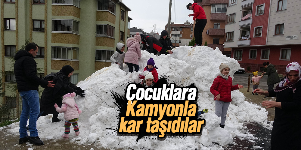 Taşıma kar ile çocuklar eğlendi